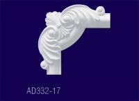 AD332-17 Угловой элемент с рисунком/20,3*20,3*3см - Архитектурный декор, лепнина, компания Солид, Екатеринбург